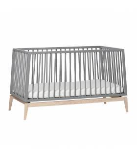 Leander Luna Babybett 70x140 cm - Grau / Eiche