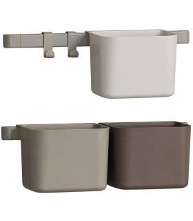 Leander/Linea Organisationselemente 3 Stück, 2 kurze Schienen - Cappuccino