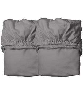 Leander Organic Fix-Leintuch für Babybett 2 Stück - Cool Grey