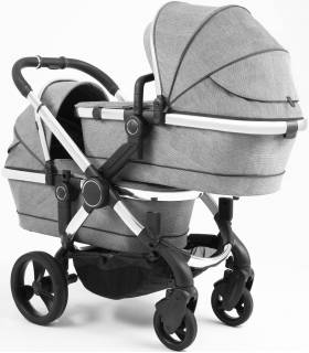 iCandy Peach Zwillingswagen-Set Gestell-Chrome Light Grey Check (Komplette Zwillingslösung)