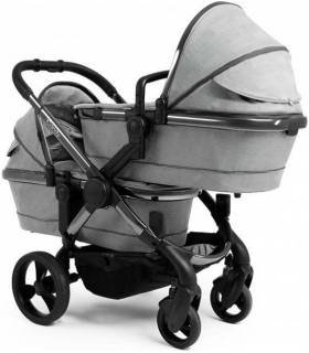 iCandy Peach Zwillingswagen-Set Gestell-Phantom Light Grey Check (Komplette Zwillingslösung)