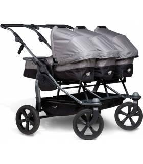 TFK Trio Drillingswagen - Kombi-Kinderwagen für 3 Kinder Grau