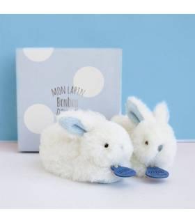 Doudou Füsslinge Hase mit Rassel - Blau 0-6 Monate