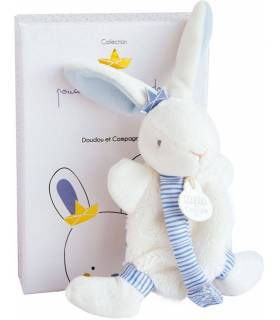 Doudou Schmusetuch mit Schnullerkette - Hase Matrose