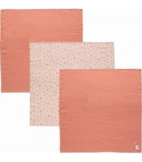Zewi Bébé-Jou Muslin Tücher 70x70cm Wish Pink 3-STÜCK