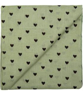 Zewi Bébé-Jou Baby Gaze Motiv Bedruckt 60x60 (Nuscheli) Khaki Herzen