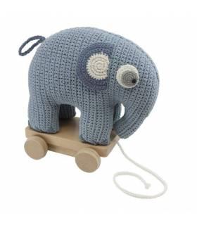 Sebra Häkel-Nachziehtier, Fanto der Elefant, powder blue