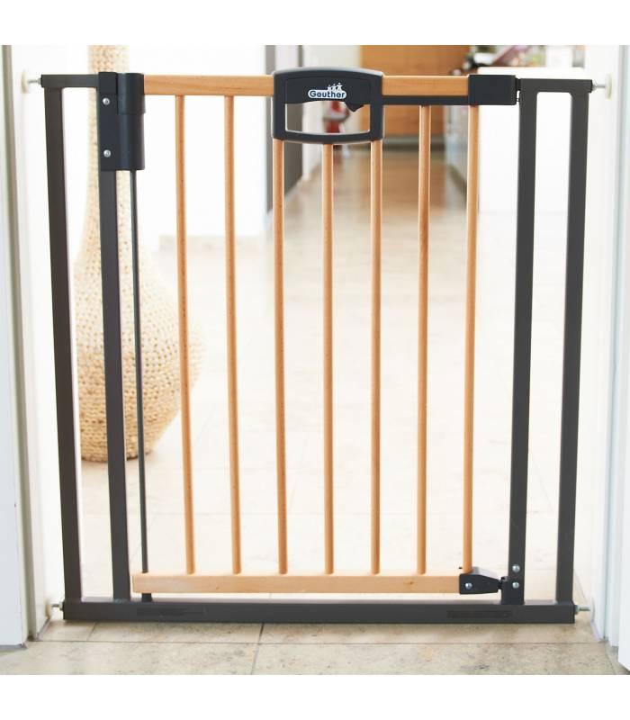 Geuther Easylock Plus-Wood Türschutzgitter Holz/Silber (2791+)