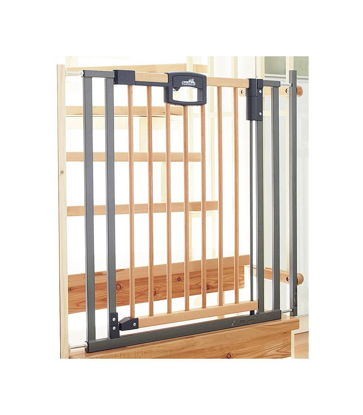 Geuther Easylock Pus-Wood Treppenschutzgitter Holz/Silber (2793+)