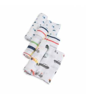 Little Unicorn Mullwindeln 120x120 (Nuscheli) 3er Pack - Traffic Jam