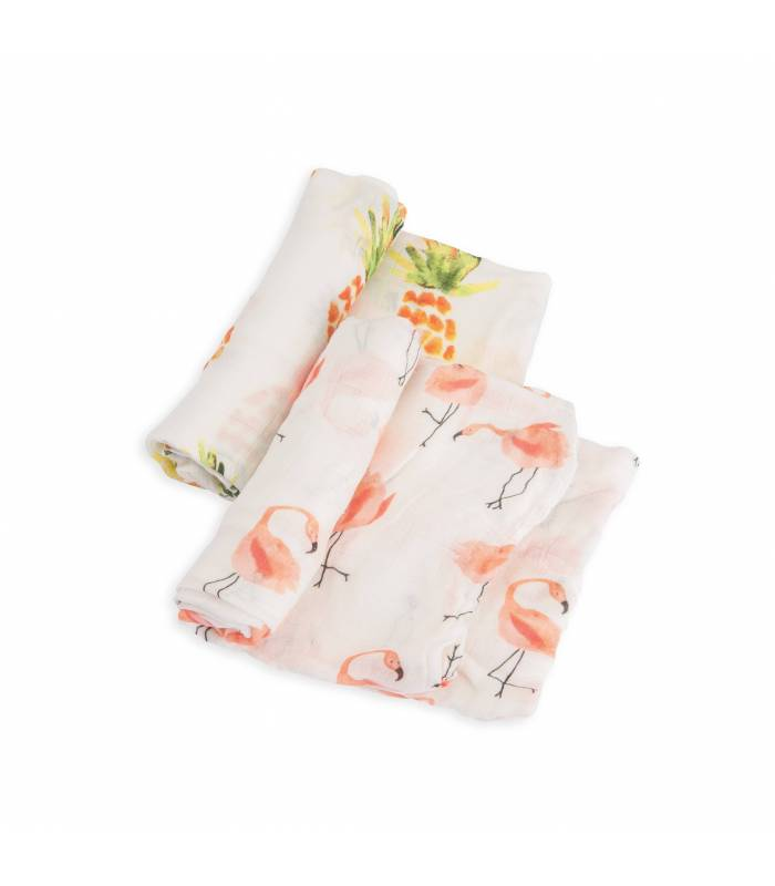 Little Unicorn Bambus Mullwindeln 120x120 (Nuscheli) 2er Pack - Pink Ladies