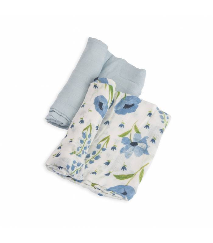 Little Unicorn Bambus Mullwindeln 120x120 (Nuscheli) 2er Pack - Blue Windflower