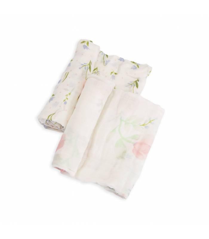 Little Unicorn Bambus Mullwindeln 120x120 (Nuscheli) 2er Pack - Pink Peony