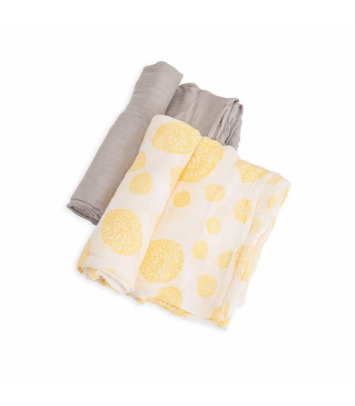 Little Unicorn Bambus Mullwindeln 120x120 (Nuscheli) 2er Pack - Yellow Burst