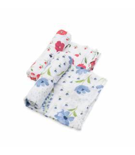 Little Unicorn 100% Bio-Baumwoll Mullwindeln 120x120 (Nuscheli) 2er Pack - Summer Poppy