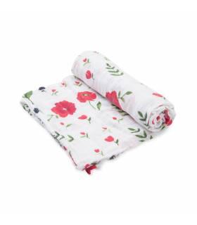 Little Unicorn 100% Bio-Baumwoll Mullwindeln 120x120 (Nuscheli) Einzel Pack - Summer Poppy