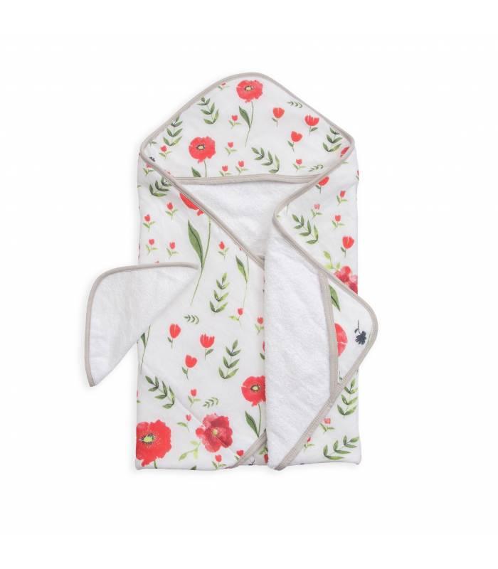 Little Unicorn Kapuzentuch und Waschlappen - Summer Poppy