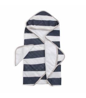 Little Unicorn Kapuzentuch und Waschlappen - Navy Stripe