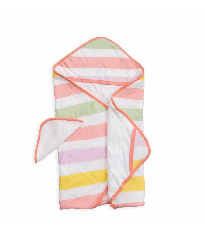 Little Unicorn Kapuzentuch und Waschlappen - Cabana Stripe