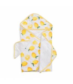 Little Unicorn Kapuzentuch und Waschlappen - Lemon