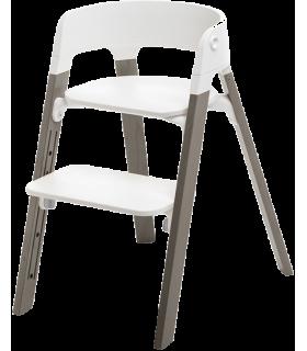 Stokke Steps Chair (Stuhl) Weiss/Buchenholz Hazy Grey