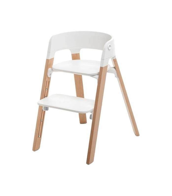 Stokke Steps Chair (Stuhl) Weiss/Buchenholz Natur