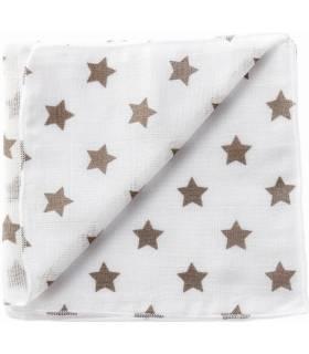 Zewi Bébé-Jou Baby Gaze Motiv Bedruckt 60x60 (Nuscheli) Weiss/Schlamm Sterne