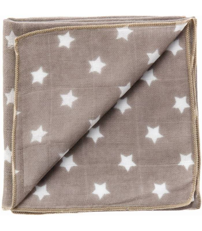 Zewi Bébé-Jou Baby Gaze Motiv Bedruckt 60x60 (Nuscheli) Schlamm Sterne