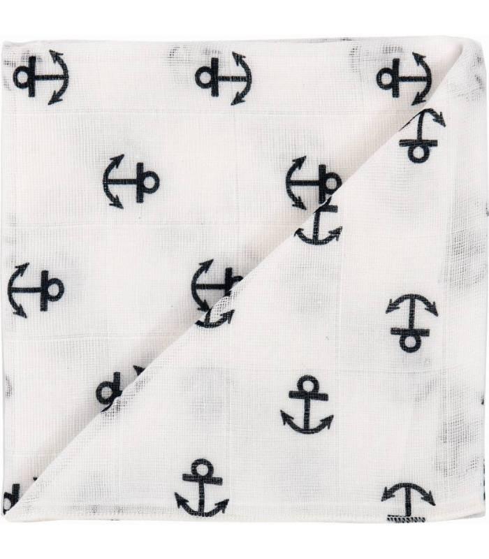 Zewi Bébé-Jou Baby Gaze Motiv Bedruckt 60x60 (Nuscheli) Marine
