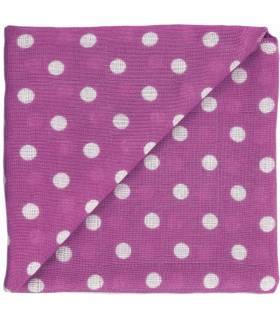 Zewi Bébé-Jou Baby Gaze Motiv Bedruckt 60x60 (Nuscheli) Violett Punkte