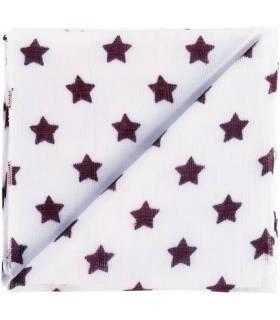 Zewi Bébé-Jou Baby Gaze Motiv Bedruckt 60x60 (Nuscheli) Weiss/Violett Sterne