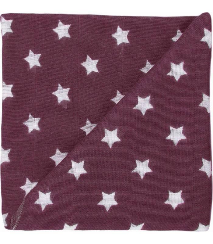 Zewi Bébé-Jou Baby Gaze Motiv Bedruckt 60x60 (Nuscheli) Violett/Weiss Sterne