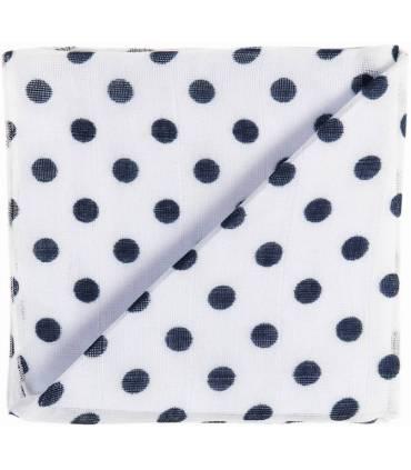 Zewi Bébé-Jou Baby Gaze Motiv Bedruckt 60x60 (Nuscheli) Weiss/Marine Punkte