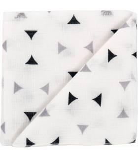 Zewi Bébé-Jou Baby Gaze Motiv Bedruckt 60x60 (Nuscheli) Weiss/Blau/Grau Dreieck