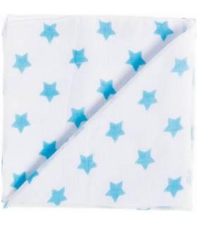 Zewi Bébé-Jou Baby Gaze Motiv Bedruckt 60x60 (Nuscheli) Weiss/Türkis Sterne