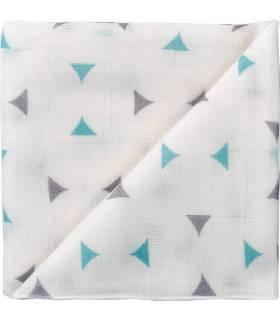 Zewi Bébé-Jou Baby Gaze Motiv Bedruckt 60x60 (Nuscheli) Weiss/Mint/Grau Dreieck