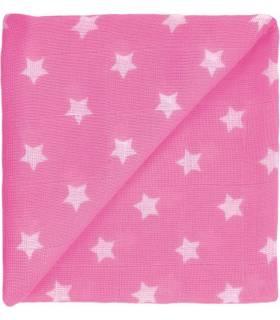 Zewi Bébé-Jou Baby Gaze Motiv Bedruckt 60x60 (Nuscheli) Pink Sterne