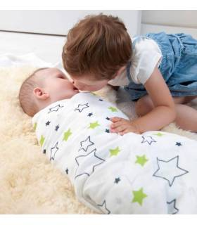 Zewi Bébé-Jou Baby Gaze GROSS Motiv Bedruckt 120x120 (Nuscheli) White Stars & Points