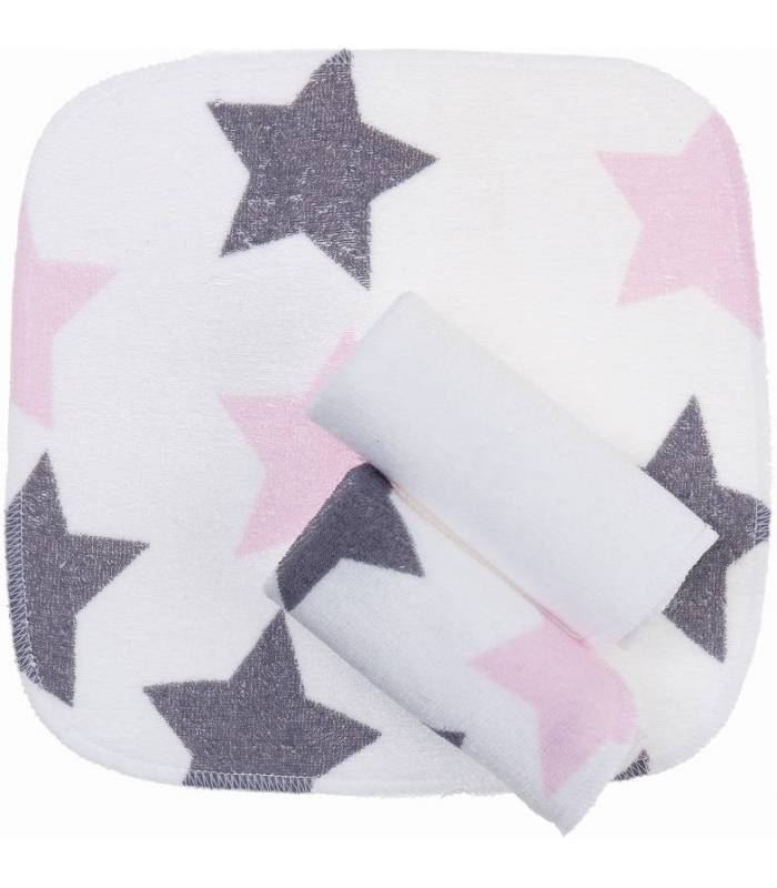 Zewi Bébé-Jou Waschtücher 3 Stück Rose Stars