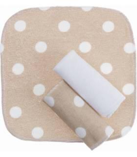Zewi Bébé-Jou Waschtücher 3 Stück Beige/Ecru Tupfen