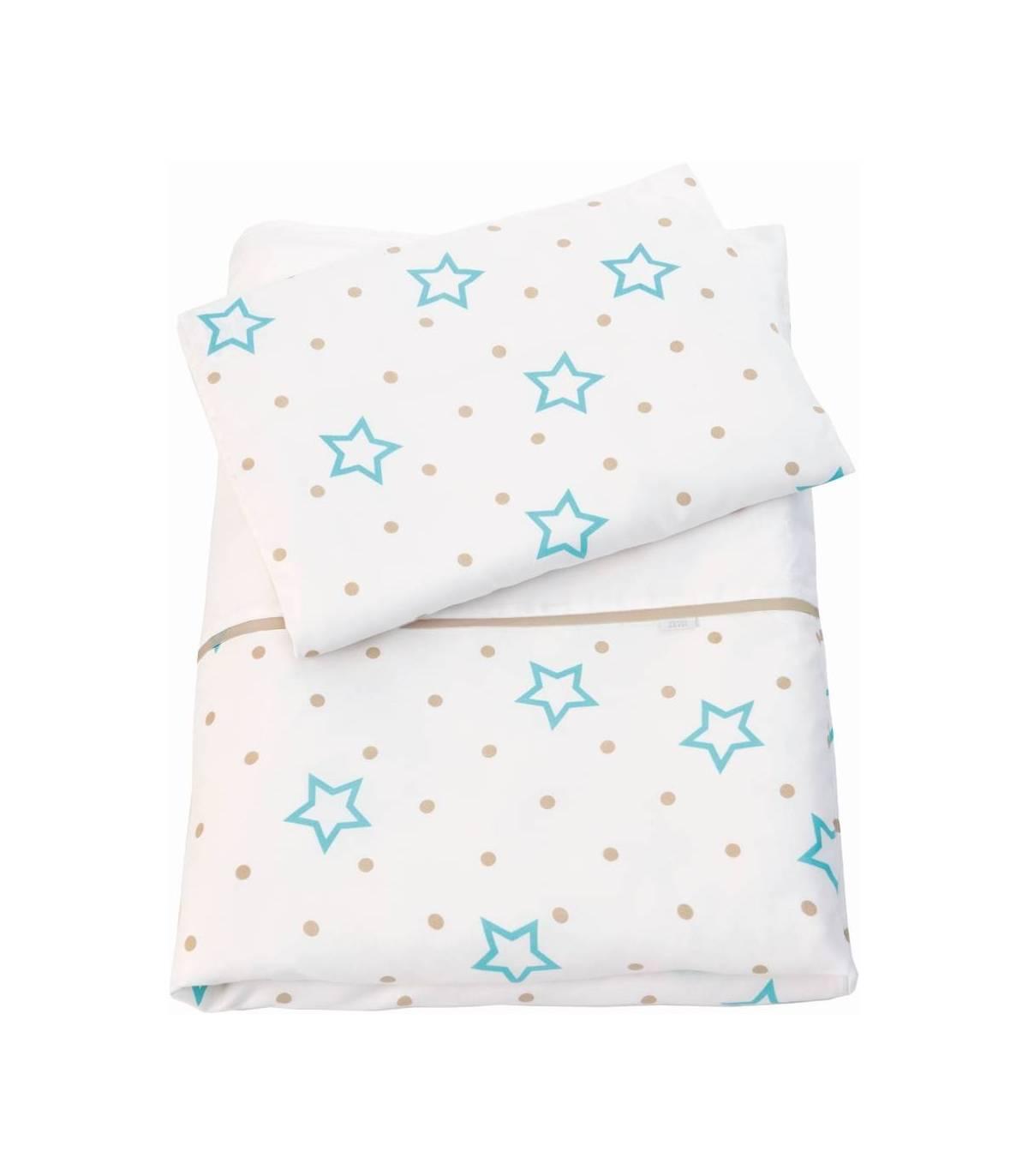 Zewi Bébé-Jou Bettwäsche 100x135cm & Kissenbezug 40x60cm White Stars & Points