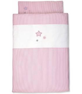 Sterntaler Bettwäsche 100x135 cm & Kissenbezug 40x60 cm - Pinke Sterne