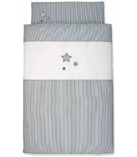 Sterntaler Bettwäsche 100x135 cm & Kissenbezug 40x60 cm - Graue Sterne