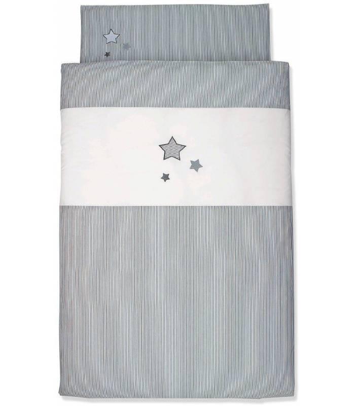 Sterntaler Bettwäsche 100x135 Cm Kissenbezug 40x60 Cm Graue Sterne Hw Baby Center