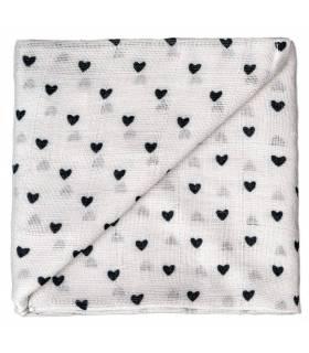 Zewi Bébé-Jou Baby Gaze Motiv Bedruckt 60x60 (Nuscheli) Grau Herzen