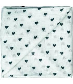 Zewi Bébé-Jou Baby Gaze Motiv Bedruckt 60x60 (Nuscheli) Grün Herzen